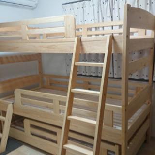 大川家具 超美品 3段ベッド 分解してシングルでも使えます!