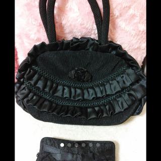 レディース フォーマル 黒&折り畳み式バッグ+ふくさ