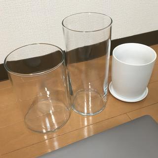 【無印】ガラス花瓶、植木鉢 3個セット