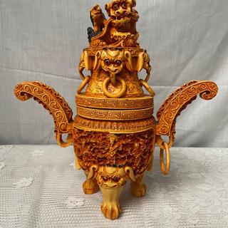 中国古美術香炉 細工彫 香炉 練り物