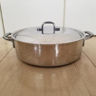 浅型 蓋つき雪平両手鍋