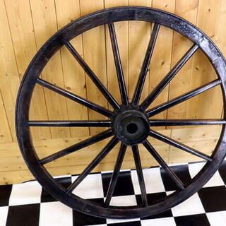 アンティーク 大八車 車輪 木製 鉄枠 直径約91cm 荷車 インテリア ガーデニング - その他