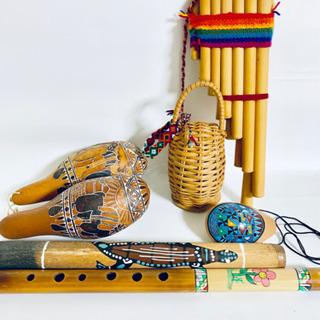 アンデス ペルーの楽器  マラカス ケーナ オカリナ  など6点...
