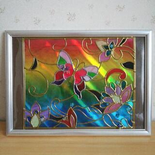 グラスアート 額入りの蝶と花