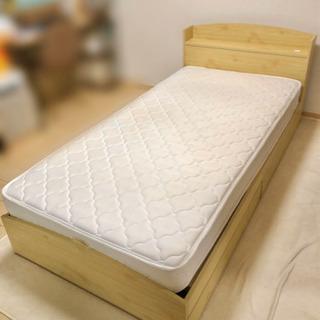 木目調 シングルベッド(マットレス付き)
