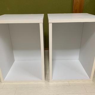コーナン カラーボックス 白 1段&茶色いボックス