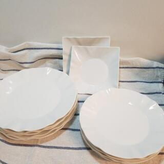 値下げ 白皿10点セット パーティー皿