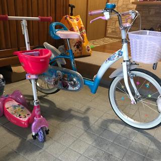 アナと雪の女王 18インチ子供用自転車/プリンセス キックボード