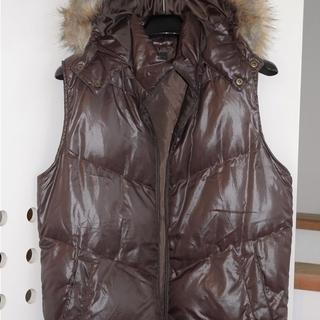 美品!ノースリーブジャケット 茶色 レディース フード付き Mサイズ