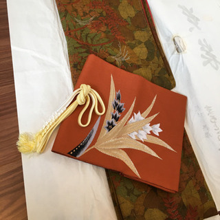 レディース着物、秋柄、紅葉、名古屋帯セット、仕付けあり