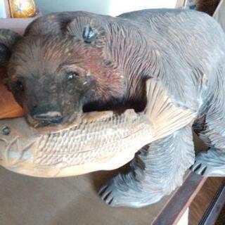 木製くまのオブジェ彫刻