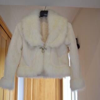【新品】ファー付き ジャケット 白 Mサイズ