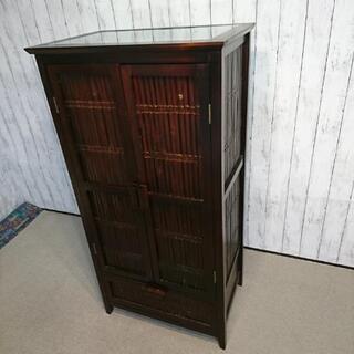V*021 竹を使ったアンティークなアジアン家具 小型の食器棚