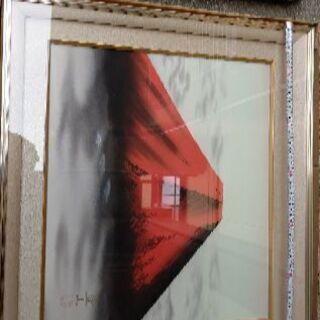 赤富士、大きさは写真のメジャーで確認
