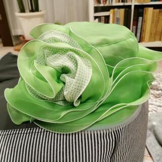 未使用品 黄緑シルク帽子 フォーマル