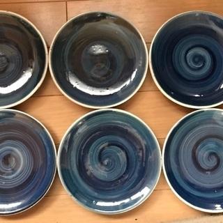 藍色のお皿 6枚セット