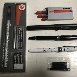 万年筆(2本)、筆ペン、カリグラフィーペンの4本セット