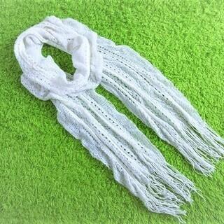 ■ラメ糸MIXひらひらドレープロングニットマフラー■白■