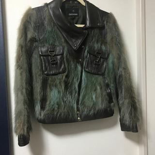 ラクーン  毛皮 ラム革 ジャケット