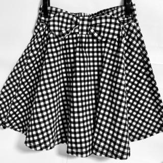 未使用 かわいいチェックのスカート  ウエストゴム M  64〜70