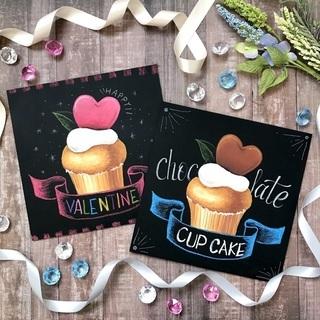 かわいいカップケーキのチョークアート体験