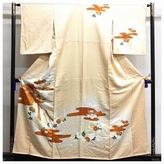 正絹 付下げ 綸子 薄オレンジ 花模様 身丈157 裄63 袷...