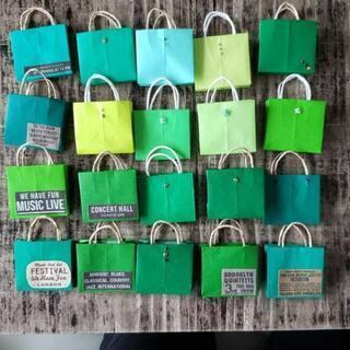 ハンドメイド ミニ 紙袋 グリーン