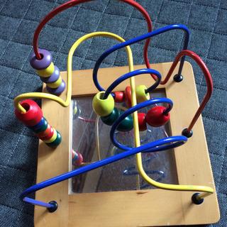木製おもちゃ くるくる ビーズコースター(鏡つき)