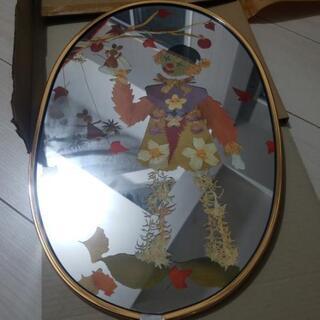ミラー 壁掛け 鏡 ピエロ 押し花 ネズミ