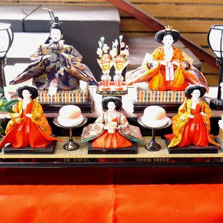 大特価! 雛人形 小十番親王柳官女付二段飾り 屏風付き
