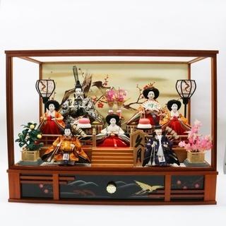 久月 ひな人形 オルゴール付 7人飾り ガラス外し済 おひなさま...