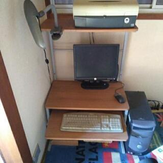 パソコン台とライト(パソコンはイメージです)