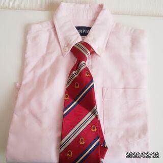 美品✨入学、イベント用 ピンクのシャツ(110cm) & 赤のネクタイ