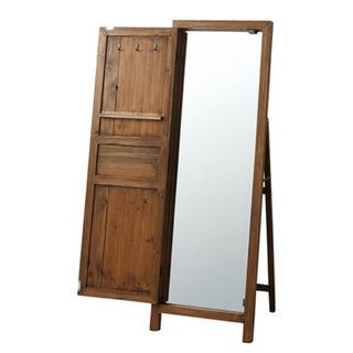 アンティーク風 ドア付きミラー