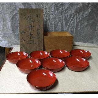 c616 漆塗 朱塗 木皿 菓子皿 8枚 木箱入り 明治17年