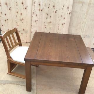 中古 家具調リビングコタツ&椅子セット