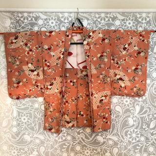 昭和アンティーク着物[D]女性用 羽織 袷 ピンク×梅・牡丹柄