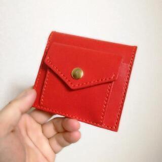 【ハンドメイド】赤いヌメ革の2つ折り財布