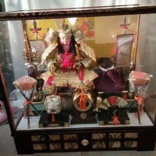五月人形 子供武者飾り(ガラスケース入り)