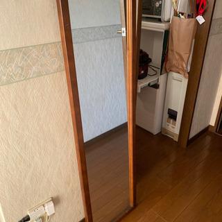 木製の姿見 壁掛けも可能 大きな鏡