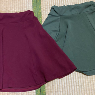 美品スカート2点(ボルドー、カーキ)