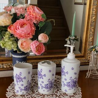 陶器 薔薇 洗面台コーディネート3点セット