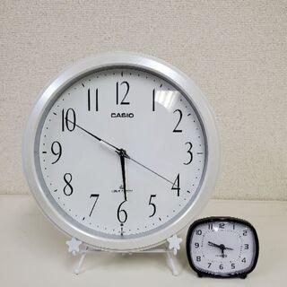 時計 ☆ホワイト(掛け時計) ★ブラック(置き時計) 2個セット