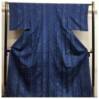藍染め 縞 更紗模様 裄64.5 身丈159 高級呉服 正絹 袷