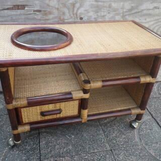 ■配達可■和風 籐 ワゴンテーブル ポットワゴン