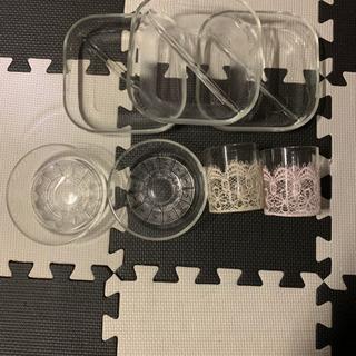 ガラス製コップ、お皿セット