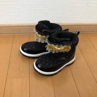 15センチ 女の子 ブーツ スノーブーツ リボン 丸高衣料 黒 ...