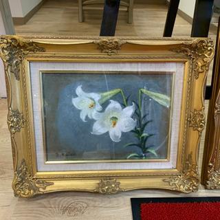 自然風景画 油彩 肉筆 油絵 高級ガラス額縁付き!花 植物…
