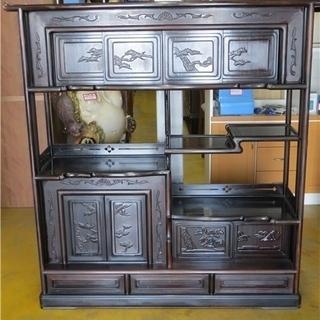 黒檀 飾り棚 茶箪笥 タンス 違い棚 収納 彫刻 伝統 日本家具...