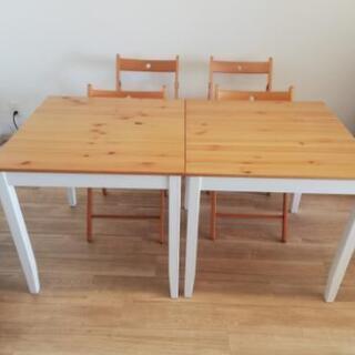 ダイニングテーブル2つ 椅子4脚 セット 美品 (おまけ 新品マ...